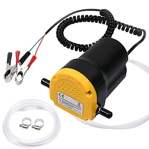 flintronic Pompe à Huile Diesel, Pompe éléctrique à vidange Extraction Huile Diesel Aspiration 12V 60W pour Le Changement de Diesel d'extracteurs de Fluide de Voiture, Huile Moteur.