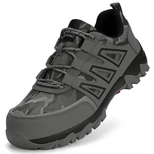 Ucayali Zapato de Seguridad Hombre Zapatilla de Trabajo con Punta de Acero Ligero Antideslizantes Transpirable Calzado Industrial Reflectivo(Gris Hierro, 44 EU)