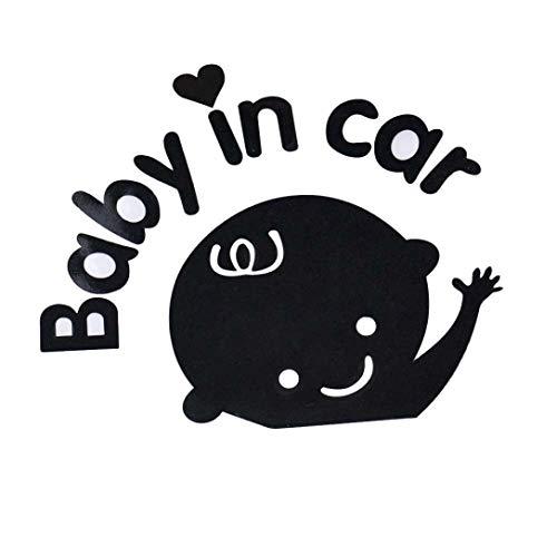 Ogquaton Baby im Auto winken Baby an Bord Sicherheit Zeichen Autofenster Karosserie Aufkleber Aufkleber (schwarz) bequem und praktisch
