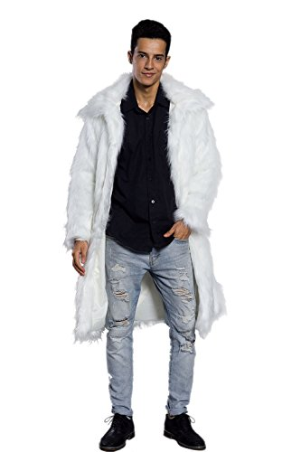 Amore Bridal Mens Faux Fur Coat Long Black Jacket Warm Furry Overcoat Outwear White L