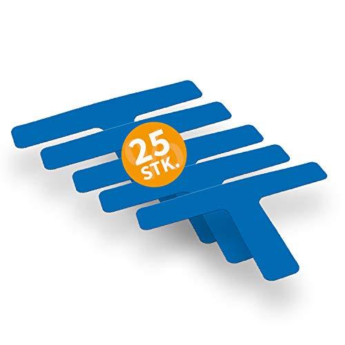 Betriebsausstattung24 Stellplatzmarkierung zur Lagerplatzkennzeichnug | TYP T-Stück | PVC selbstklebend | sofort befahrbar | 25 Stück (VE) (5,0/30,0 x 20,0 cm, blau)
