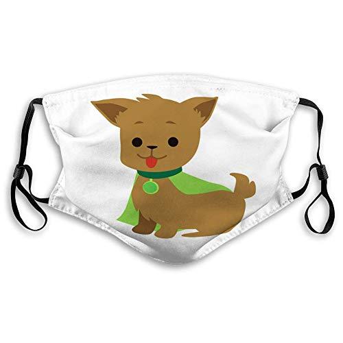 Staubdichter Mundschutz mit verstellbaren Ohrschlaufen Niedlicher und lustiger Superheld für Welpen und Hunde in Einer grünen wiederverwendbaren Hülle