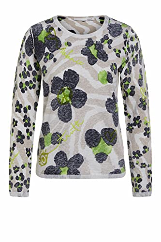 Oui Damen Pullover aus Bio Baumwolle gerade geschnitten Floral Freizeit