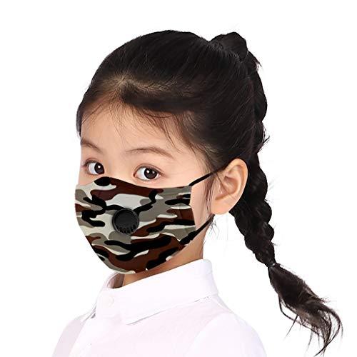 Supertong 2 Stück Mundschutz Kinder Baumwolle Tägliche Pflege Staubdicht Gesichtsschutz Wiederverwendbar Waschbar Atmungsaktiv Einstellbar Camouflage Face Shield mit Atemventil (8)