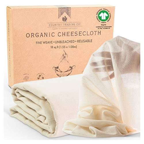 Paños de muselina para cocinar, Paños de queso orgánicos certificados para colar, Fino reutilizable (corte grande 1,5 m x 1,0 m)