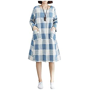 Women's Cotton Linen Checked Dress Plaid Shirt Dress with Large Pocke...