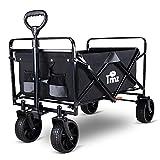TMZ All Terrain Utility Folding Wagon, Collapsible Garden Cart, Heavy Duty Beach Wagon, for Shopping and Outdoor Activities…