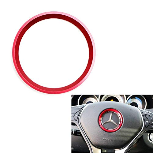 iJDMTOY (1) Sports Red Aluminum Steering Wheel Center Decoration Cover Trim Compatible With Mercedes B C E CLA GLA GLK Class, etc