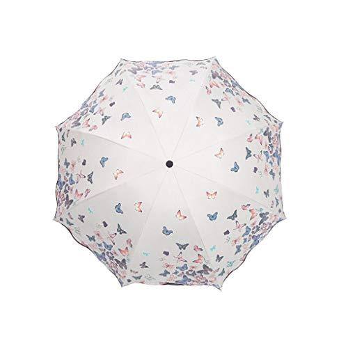 Gfbyq Paraguas Que Cambia El Color del Agua, Protección Solar Paraguas UV Parasol Paraguas Hembra Soleada Y Lluvia De Doble Propósito (Color : B)