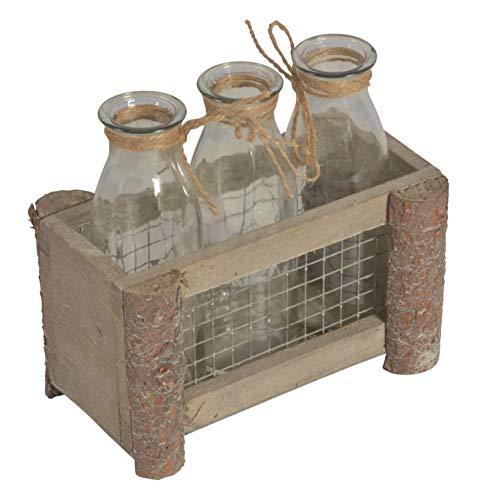 Chiccie houten frame grijs met rooster en 3 vazen 17x9x10cm - glazen vaas zwevende vaas zwevende bloempot bloemenvaas