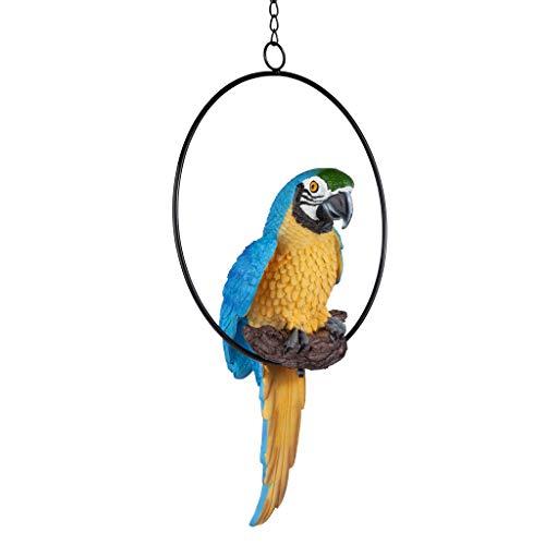 Design Toscano QL12820 Polly in Paradise Parrot Hanging Bird Ring Perch Statue, Medium 14 Inch, Polyresin, Full Color