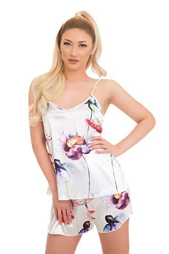 Evoni Satin pyjamaset | korte broek + nachthemd voor dames | hoogwaardig nachtkleding met corrigerbare spaghettibandjes | optimale pasvorm | sexy pyjama zijde