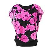 Xmiral Camicia Donna Maglietta Girocollo a Manica Lunga con Stampa t-Shirt Maniche Corte M Rosa Caldo