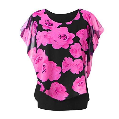 camicia donna xxxl Xmiral Camicia Donna Maglietta Girocollo a Manica Lunga con Stampa t-Shirt Maniche Corte XXXL Rosa Caldo