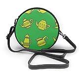Wrution Vintage Tea Pots sin costuras patrón redondo cruzado, bolsa de hombro de cuero suave círculo monederos para mujer café personalizado