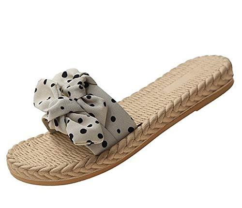 Yhjmdp Casual Zapatilla Mujeres Verano Bohemia Encantador Bowknot Zapatos de Playa de Mujer Sandalias,Beige,36