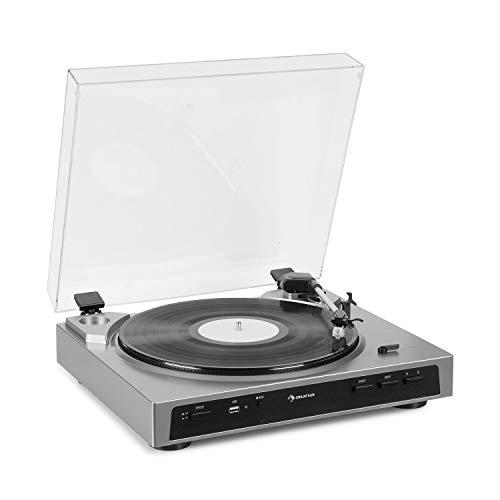 auna Fullmatic vollautomatischer Plattenspieler (33 oder 45 U/min, 30 oder 17 cm Plattengröße, USB-Port, AUX-Eingang, Vorverstärker, MM-Tonabnehmersystem, luxuriöses Design) Silber