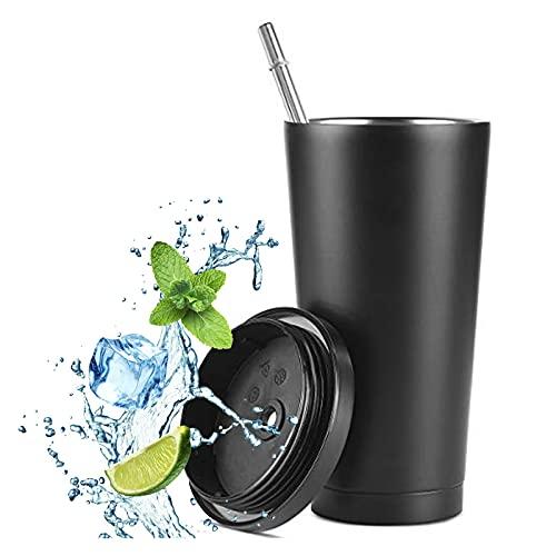 flintronic Bicchiere in Acciaio Inossidabile, 475ml Tazza Termica da Viaggio Hyrdro Termos Bicchieri con Paglia - Isolamento Sottovuoto Acciaio Inossidabile, Flask - Acciaio Inossidabile - Nero