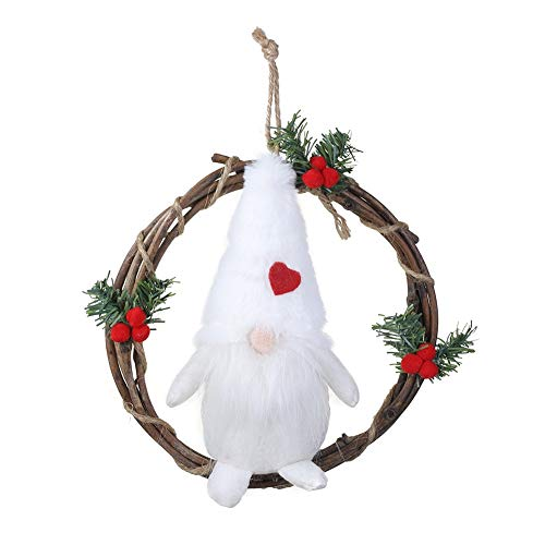 Plush Gnome Rattan Wreath, Christmas Garlands With Swedish Santa Front Door Wreaths for Home Kitchen Wall Decor