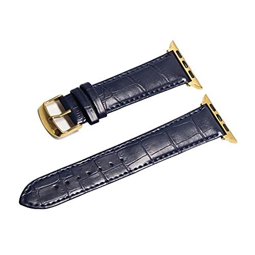 HANRUO Accesorios para relojes de diseño, correas de 42 mm, correa de 38 mm (color de la correa: oro azul oscuro, ancho de la correa: 38 mm)