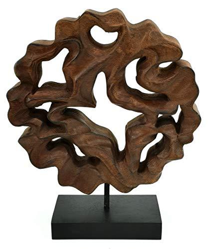 My-goodbuy24 Holzskulptur Baum Figur aus Massivholz Skulptur Deko Holz Objekt - Echtholz jedes EIN Unikat - Wohnzimmer/Schreibtisch Dekoration (Rund - 30 x 25 x 9,5 cm)