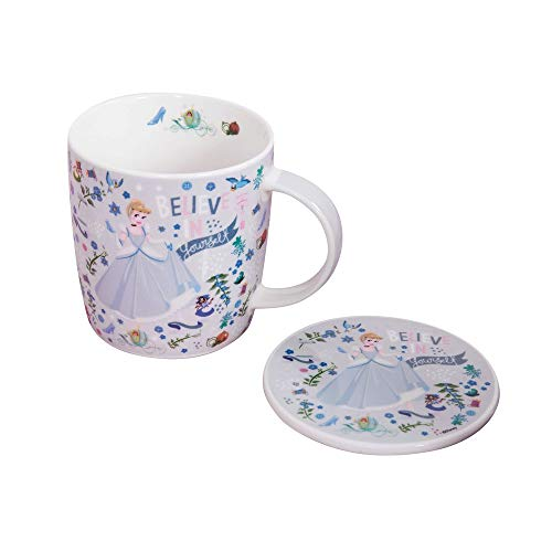 Happy Homewares Disney New Bone China Mug & Coaster Gift Set - Cinderella Themed - Officially Licensed