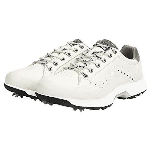 Zapatillas De Golf para Hombre, Zapatos De Golf con Pinchos para Mujeres Zapatos De Entrenamiento De Golf A Prueba De Agua Cómodos Zapatillas Deportivas De Golf Antideslizantes,Blanco,48 EU