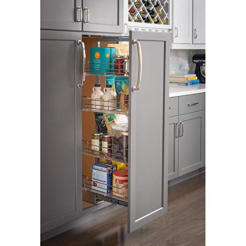 """15"""" Chrome wire pantry pullout with heavy-duty soft-close slides."""
