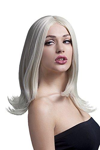 Fever dames schouderlange en getrapte pruik met middenscheiding, 43 cm, Sophia pruik, Blond, One Size, 42506