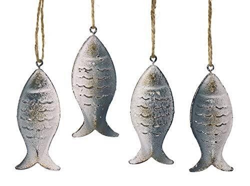 TEMPELWELT 4X Deko Figur Anhänger Fisch je 8 cm, Metall blau weiß Shabby, Dekoanhänger Maritim Zum Hängen Fischanhänger zum Basteln, Wanddeko