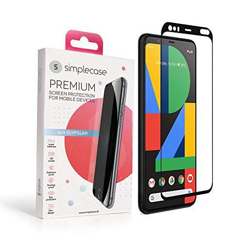 Simplecase Panzerglas passend zu Google Pixel 4 XL , FULL SCREEN Premium Bildschirmschutz , 100prozent Abdeckung , Optimaler Schutz , Extra Festigkeitgrad 9H , Schwarz - 1 Stück