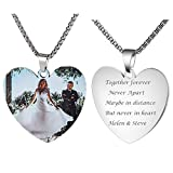 Fanery Sue Personalized Photo Necklace Custom Your Picture Engraved Message Heart Necklace(Full Color Printed)