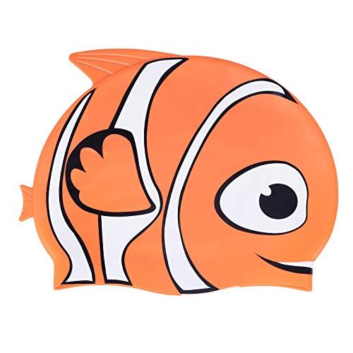 MoKo Gorro de Natación Impermeable de Estilo de Dibujos Animados para Niños, Lindo Gorro de Baño de Silicona Suave de Alta Elasticidad para Niños y Niñas - Pez Naranja