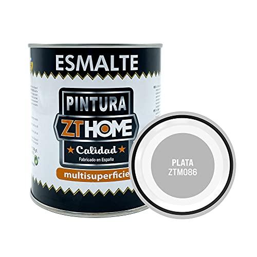 Pintura color Plata Interior / Exterior / Multisuperfie para azulejos baño cocina , madera, puertas, metal, radiadores, muebles, ceramica / Esmalte sintentico en 375 ml
