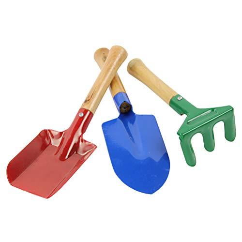 Juego de 3 palas de metal con mango de madera, juego de herramientas de jardín, para niños, playa, arenero, 3 unidades