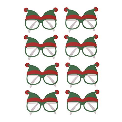 Happyyami Lustiges Weihnachtssonnenbrilleweihnachtshutmusterfotostützenweihnachtsfest der Papierbrille 8pcs bevorzugt Geschenkgrün