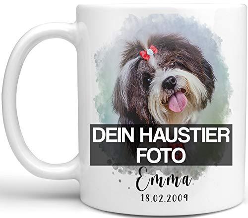 Personalisierte Tasse mit Foto und bearbeitung von Ihrem Haustier, Namen und Datum, Kaffeetasse weiß mit Bild vom Hund, Katze, Pferd selbst gestalten und bedrucken