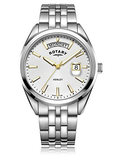 Rotary | Herren Henley | weißes Zifferblatt | Silber Edelstahlarmband GB05290/70