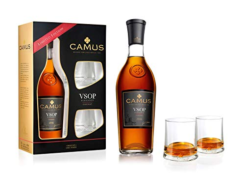 Camus VSOP Elegance Cognac mit Geschenkverpackung mit 2 Gläsern Cognac - 70cl 40° - Familienbesitz seit 1863