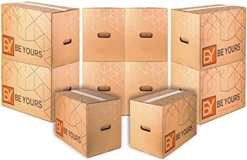 Pack de 10 Cajas Carton Mudanza Grandes con asas - Largo 50 cm, Ancho 30 cm, Alto 30 cm en Cartón Doble - Cajas Mudanza Ultra Resistentes