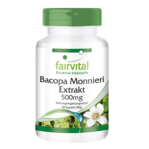 Bacopa Monnieri Extrakt 500mg - standardisiert auf 20% Bacoside - vegan - 90 Kapseln - Made in Germany