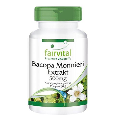 Extracto de Bacopa Monnieri 500mg - Brahmi VEGANO - 20% de bacósidos - Dosis elevada - 90 Cápsulas - Calidad Alemana