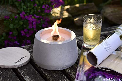 Beske-Betonfeuer mit 'Dauerdocht' | Durchmesser 14cm mit Bauch | Wiederbefüllbare Gartenfackel | 'Unendliche' Brenndauer durch Kerzenwachs-Recycling | Tischfeuer Fackel Kerze Outdoor