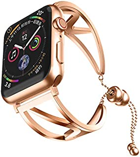 Cywulin Stainless Steel Bands Compatible iWatch 40mm 44mm 38mm 42mm Apple Watch Series 4, Series 3, Series 2, Series 1, Classy Bangle Replacement Loop Wirst Strap Link Bracelet (38mm/40mm, Rose Gold)