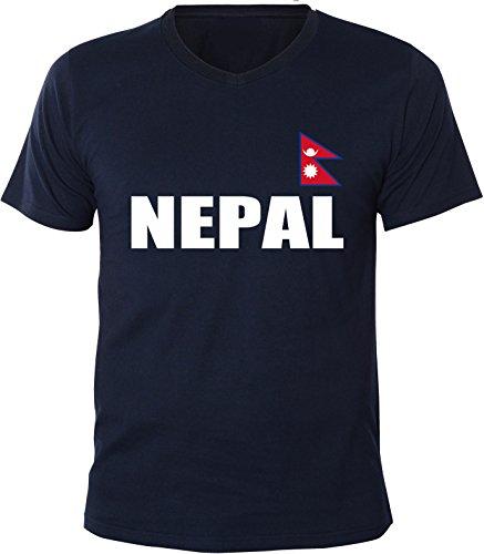 Mister Merchandise Herren V-Ausschnitt T-Shirt Nepal Fahne Flag, V-Neck, Größe: XXL, Farbe: Navy