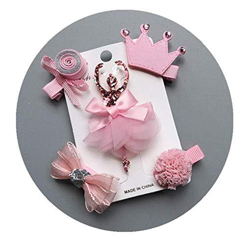 NOVAGO Lot de Barrettes pinces à cheveux fantaisie décoratives pour séance photo réussie de votre enfant bébé ou jeune fille (5 Pcs, Rose)