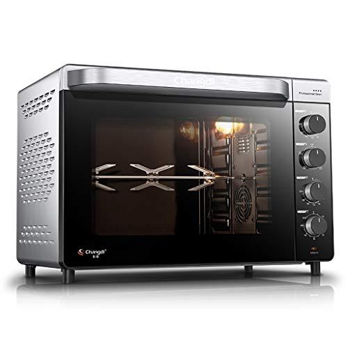 Four grille-pain électrique, four encastré 52L 1 600 W avec doublure émail - gril et plaque chauffante, couvercle, four à convection Pizza Roaster, noir, ruban