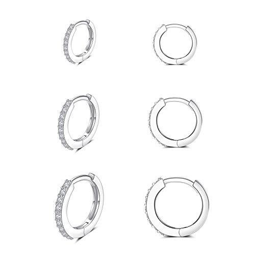 Creolen Silber 925, 3 Paar Ohrringe Silber Creolen für Damen Herren Mädchen | Huggies Creolen mit 5A Zirkonia Knorpel Schlafen Ohrringe (8/10/12mm)