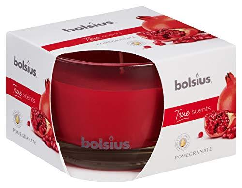 Bolsius Candela Profumata in Vetro 63/90 mm Medium, Colore Rosso, Fragranza Melograno, True Scents