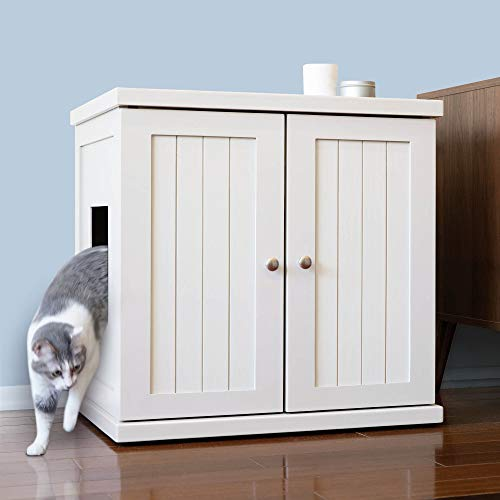 THE REFINED FELINE Cat Litter Box Enclosure Cabinet, Hidden Litter Tray Cat Furniture, Large, Cottage Style, White Color